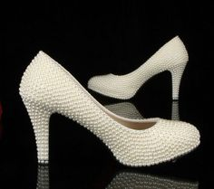 Wedding Shoes Luxury Heel White Ivory Pearls by AppleCellphone, $159.00