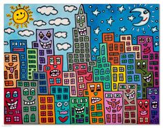 Today with the fourth graders, I introduced the artist, James Rizzi, who is well known for his works depicting city life and buildings by using bright colors and whimsical symbols. I showed many ex…