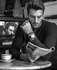 People drinking coffee ... and he could drink my coffee any day ;)