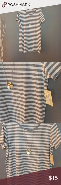 Gray & white horizontal striped Tshirt shift dress This Gray & white horizontal striped Tshirt shift dress is very soft and has some stretch. Can be worn as a dress or as a tunic with leggings Humble Chic Dresses Mini