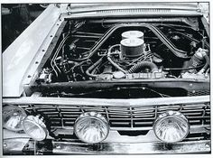 Engine compartment of one of the Hollman Moody 1964 Falcon Rally cars.