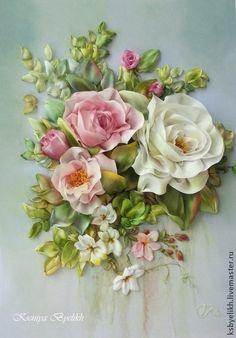 Розы после дождя. Вышивка выполнена по мотиву известного художника Gary Jenkins.  Авторская разработка в лентах .  Техника - вышивка шелковыми лентами окрашенными вручную и тонированные в процессе работы.  Цена указана с учетом…