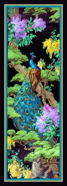 Peacock in Tree Large Refrigerator Magnet via LabelStone of Etsy.