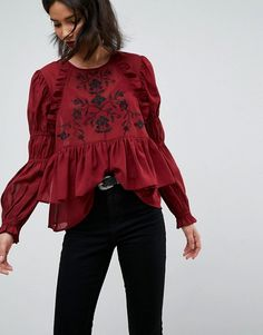 ASOS Embroidered Poet Sleeve Blouse