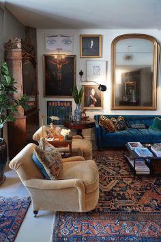 The loft/salon at Richard Manville Studio / R. Home Living Room, Living Room Designs, Living Room Decor, Living Spaces, Eclectic Living Room, Living Room Inspiration, Home Decor Inspiration, Haus Am See, Sweet Home