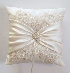 Wedding Ring Pillow with Beaded Alencon Lace Ivory by JLWeddings