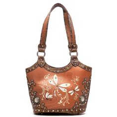 Toffee and Brown Dragonfly Western Embroidered and Embossed Handbag Purse