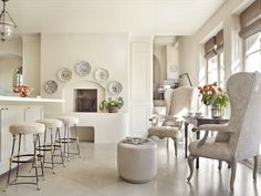 plates around the deer head?? paint brick wall color? Suzanne Rheinstein kitchen in Rooms for Living