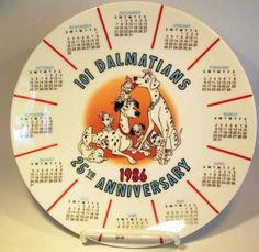 Disney 101 Dalmatians 1986 calendar decorative plate