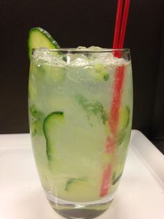 Enjoy The Cucumber Collins from Alize inside Palms Casino Resort! Made with 1 1/2 oz. Hendrick's Gin, 2 oz. soda water, 1 oz. 7-Up, 5 cucumber slices & 4 mint leaves!