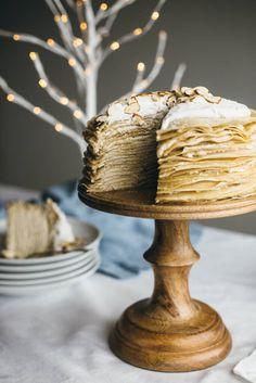 (gluten-free, paleo). Coconut amaretto crepe cake.