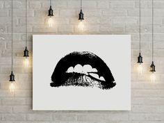 Lippen Lippen drucken Wand Kunst schwarze und weiße Kunst