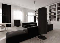 """Functional and modern interiors by Poland based Tamizo Architects, a group of young and talented architects who act based on the philosophy """"less is more"""". Flat interior design in a historic build… Flat Interior Design, Monochrome Interior, Contemporary Interior, Black And White Living Room, White Rooms, Black White, Tamizo Architects, Inside Design, White Home Decor"""