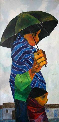 Eduardo Kingman - Lluvioso Arte Dope, Dope Art, Mexican Artists, Mexican Folk Art, Eduardo Kingman, Sans Art, Umbrella Art, Sacred Art, Art Plastique