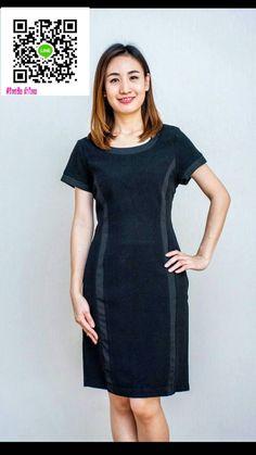 เดรสผ้าหนังไก่ตัดผ้าผ้าเครปนำเข้าจากเกาหลีสีดำ ชุดแซกผ้าไทยไหมสีดำแต่งลูกไม้ ชุดผ้าไทยผ้าพื้นเมือง ชุดทำงานสไตน์หรูเรียบดีเทลเก๋ๆด้วยการตัดต่อผ้าเครป