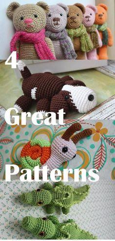 4 Great Amigurumi PATTERNS - Downloadable Crochet Tutorials: Amigurumi Snail for free, Crocodile, Puppy, Teddy Bear by crazy sheep
