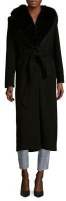 Sofia Cashmere Fox Fur Trim Wrap Coat
