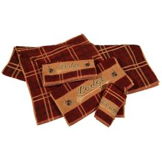 HiEnd Accents Embroidered Lodge 3 Piece Bath Towel Set - TL5170-OS-PL