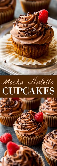 Fluffy, soft, moist, and flavorful mocha nutella cupcakes with nutella frosting recipe on sallysbakingaddiction.com