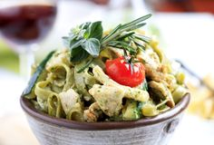 The earthiness of the pesto sauce makes every pasta so great. This pasta salad can be done so quick, which is good because you're going to be wanting it to eat it as you make it! Pasta Recipes, Chicken Recipes, Cooking Recipes, Healthy Recipes, Dinner Recipes, Chicken Zucchini, Pesto Chicken, Zucchini Alfredo, Healthy Chicken
