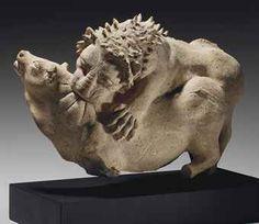 Greek terracotta lion attacking a bull, Sicily, Archaic Period, circa 550-500 B.C.