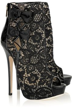 Jimmy Choo, I love you! - black lace with ribbons - high heel peep toe ankle BOOTS - shoes