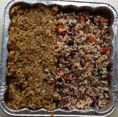 Yum yum yum. Butternut Squash Risotto (left) & Wild Rice w/ cranberries.  #vegan #veganmealprep #yumyumyum