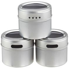 Magnetic spice tins from The Container Store. $5.99 for a pack of three.