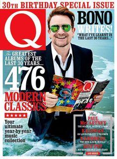 Bono sur la couverture de l'édition 30ème anniversaire de Q magazine (juin 2016)