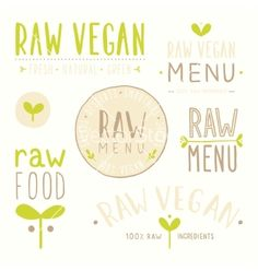 Raw vegan badges vector - by kondratya on VectorStock®