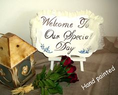 Antique ivory -HAND PAINTED- Wedding Signn-Your Words,Welcome to our special day-with lace ornement and EASEL Easel, Wedding Signs, Small Businesses, Special Day, Keep It Cleaner, I Shop, Ivory, Hand Painted, Invitations