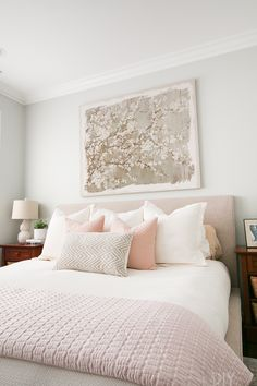 Look at this cozy bedroom space! Love the white duvet, the decorative pillow fro. Look at this cozy bedroom space! Love the white duvet, the decorative pillow from HomeGoods, and the upholstered bed to really elevate the look (Sponsored Pin) Serene Bedroom, Feminine Bedroom, Cozy Bedroom, Home Decor Bedroom, Modern Bedroom, Bedroom Ideas, Master Bedroom, Blush Bedroom Decor, Bedroom Black