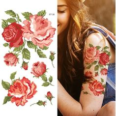 Supperb Temporary Tattoos Rose Blooming ($5.59) ❤ liked on Polyvore featuring accessories and body art