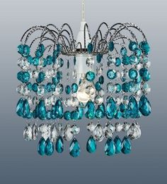 Pretty teal crystal droplet effect centre ceiling light fitting