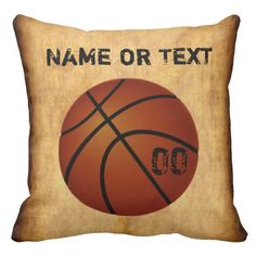 Personalized Vintage Basketball Pillow CLICK: http://www.zazzle.com/personalized_vintage_basketball_throw_pillow-189536369562552853?rf=238147997806552929