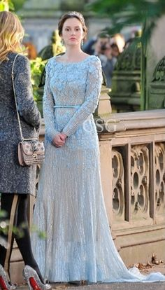 Gossip Girl Fashion: Leighton Meester looked gorgeous in the Elie Saab Spring 2012 gown shooting scenes for 'Gossip Girl' in Central Park on Monday (October 15) in New York City.