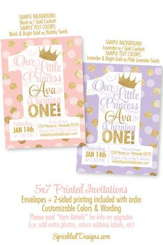 Pink And Gold Birthday Invitation Baby Girl First Birthday Party - 1st birthday invitations gold and pink