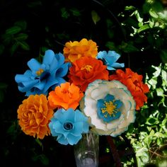 ORANGE & TURQUOISE  WEDDING - Table Decoration  MIX PAPER Flowers  - by DragonflyExpression #turquoiseandorange #turquoise #orange