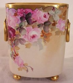 I can dream - $900.Vintage Limoges Cache Pot Decorated with Hand Painted Roses