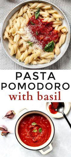 Pasta Pomodoro with Basil - A classic, simple pasta and tomato sauce recipe makes an easy weeknight dinner. Easy Pasta Recipes, Easy Healthy Recipes, Easy Dinner Recipes, Breakfast Recipes, Italian Dishes, Italian Recipes, Italian Pasta, Tomato Sauce Recipe, Tomatoe Sauce