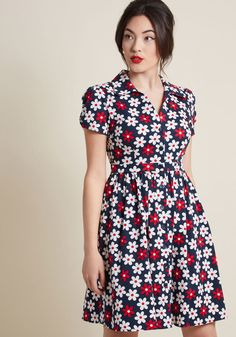 3cfb878d20d7b Teach your students about signature style with this navy blue shirt dress -  a ModCloth exclusive! Featuring ruched sleeves