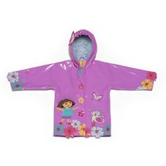 Irresistible and eye-catching, these stylish, upscale coats are the core of a Kidorable ensemble. Dora The Explorer all-weather raincoat for your little girl. It is more than just a raincoat, it can be worn every day, all spring, summer and fall. Featurin