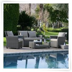 Coral Coast Delphi All-Weather Stone Wicker Conversation Set