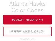 Atlanta Hawks Team Color Codes