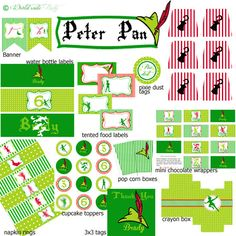 Peter Pan Party Printable Birthday KIT by worldwideparty on Etsy