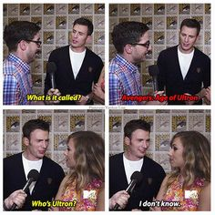 Marvel: The Avengers . learn the title of the Avengers 2 movie Avengers 2 Movie, Marvel Movies, Marvel Avengers, Avengers Memes, Marvel Funny, Chris Evans Scarlett Johansson, Age Of Ultron, Jessica Jones, The Villain