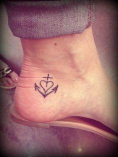 tattoo hope faith love anchor ankle tattoo