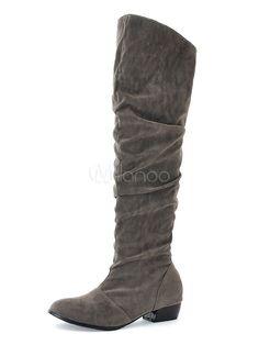 Dettagli su Stivali da donna con tacco piatto al ginocchio con tacco basso scarpe invernali SULLA COSCIA STRETCH TAGLIE FORTI mostra il titolo