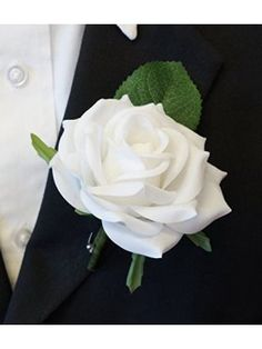 Large Boutonniere - Live-Feel Real Touch White keep sake included . White Rose Boutonniere, White Rose Bouquet, Pink Bouquet, White Roses, Tulip Bouquet, Rose Corsage, Corsage Wedding, Bridesmaid Bouquet, Wedding Bouquets