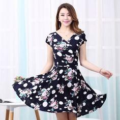 Women summer dress 2016 summer new Styles plus size women printed waist show thin Casual Beach Maxi Dresses